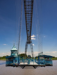 Newport Transporter Bridge from south eastern bank of River Usk,  Newport, Wales, UK