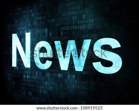 News and press concept: pixelated words News on digital screen, 3d render