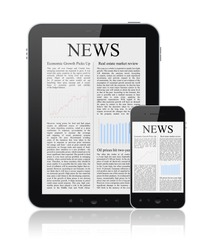 News articles on modern digital tablet and mobile smart phone. Isolated on white.