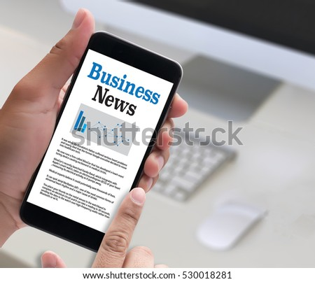 News Business Communication Marketing talk , Modern business workplace with on website on digital , Financial business  online  , technology and people  #530018281