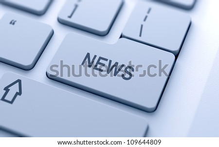 News button on keyboard with soft focus - stock photo