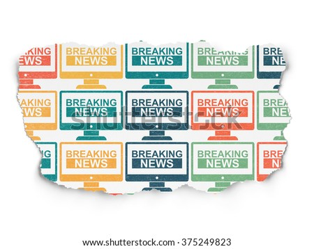 News concept: Breaking News On Screen icons on Torn Paper background #375249823