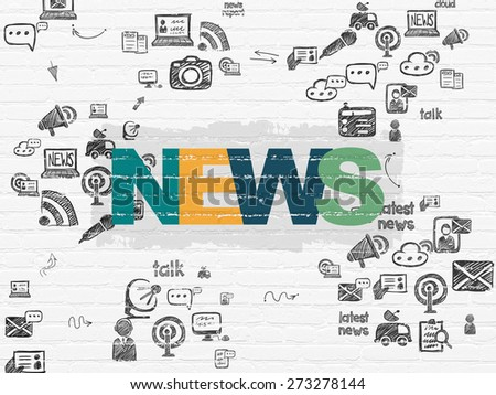 News concept: Painted multicolor text News on White Brick wall background with Scheme Of Hand Drawn News Icons, 3d render