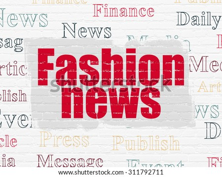 News concept: Painted red text Fashion News on White Brick wall background with  Tag Cloud