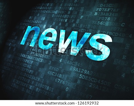 News concept: pixelated words News on digital background, 3d render