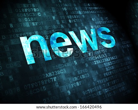News concept pixelated words News on digital background 3D render