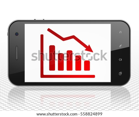 News concept: Smartphone with red Decline Graph icon on display, 3D rendering