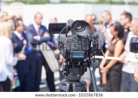 Shutterstock News conference. Broadcast journalism.