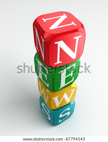 news 3d colorful buzzword tower on white background