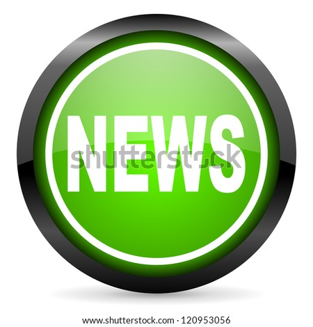 news green glossy icon on white background