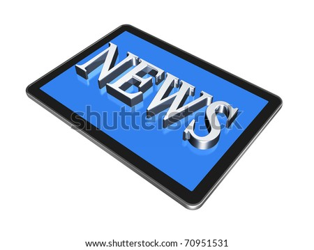 News in digital Tablet pc, isolated on white with clipping path