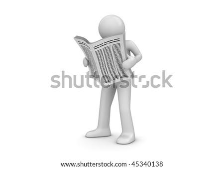 News, man with newspaper (3d isolated characters series)