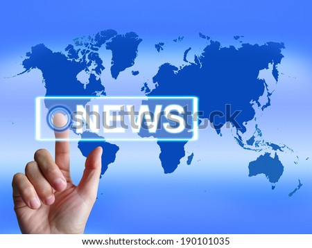 News Map Showing Worldwide Newspaper or Media Information
