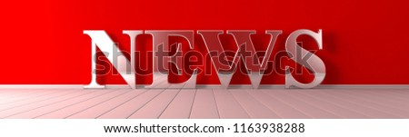 News metallic text on red wide banner 3D render