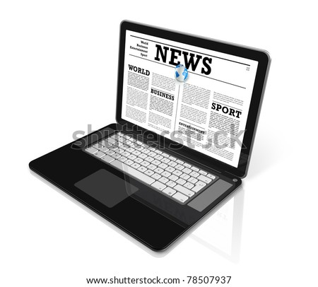 News on a laptop computer isolated on white with 2 clipping paths : one for global scene and one for the screen