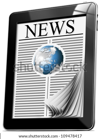 News On Tablet Pc With Pages - Black tablet computer with news on white background
