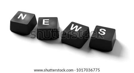News online concept. News written on keyboard keys on white background, banner, view from above. 3d illustration