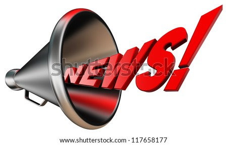 news red word and metal bullhorn on white background. clipping path included - stock photo