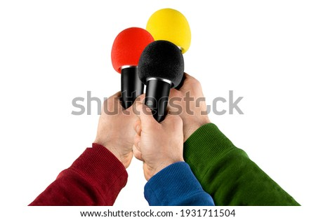 news reporter interview hands with microphone isolated on white background. reporter live communication journalist press conference concept Foto stock ©