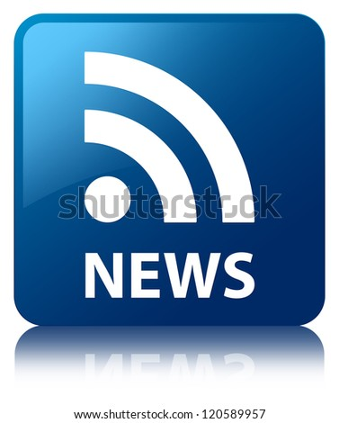News (rss feed) glossy blue reflected square button