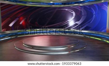 News Studio, Backdrop For TV Shows .TV On Wall.3D Virtual News Studio Background, 3d illustration Stockfoto ©
