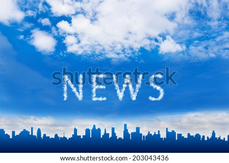 news text on cloud with blue sky