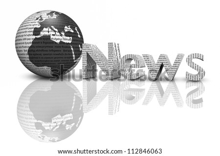 news with mirror isolated on white,3d