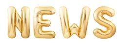 News word made of golden helium balloons isolated on white background. News word made of golden inflatable balloons