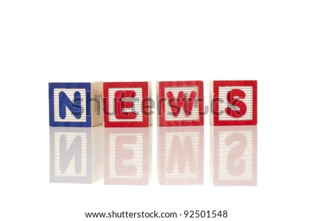news word on colorful wood blocks - stock photo