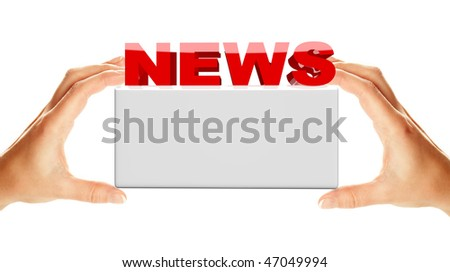 News word with banner holding by two female hands, isolated over white background