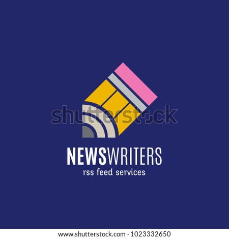 News Writers RSS Feed Services Abstract Sign, Emblem or Logo Template. Creative Concept on Blue Background. Raster Copy.