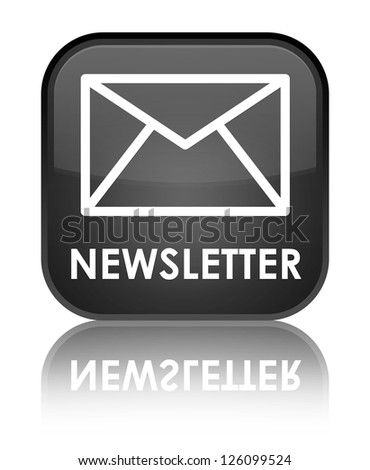 Newsletter glossy black reflected square button