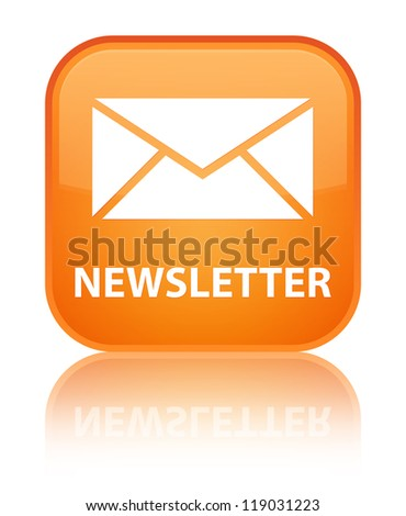 Newsletter glossy orange reflected square button