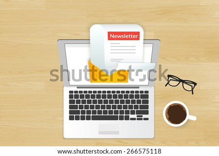 Newsletter illustration of reading new email letter on the laptop display placed on realistic wooden background. Business cover top view of electronic newsletter delivery and spam email protection