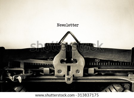 Newsletter word typed on a Vintage Typewriter