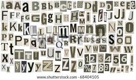 Newspaper alphabet with letters, numbers and symbols. Isolated on white - stock photo