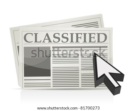 Newspaper classified ads page and cursor - stock photo