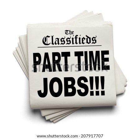 Newspaper Classifieds Part Time Jobs Headline Isolated on White Background.