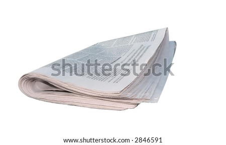 newspaper folded and isolated by a clipping path over a white background