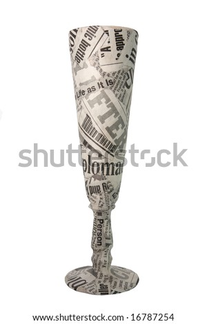 newspaper glass on white background - stock photo
