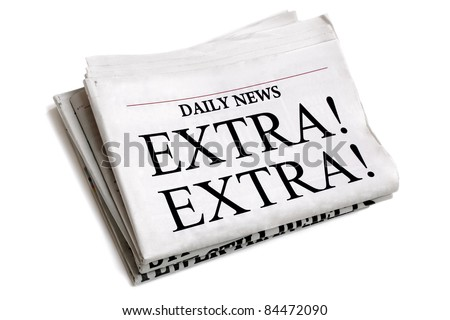 Newspaper headline Extra Extra isolated on white background ストックフォト ©