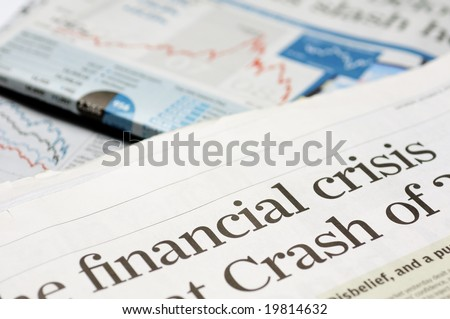 Newspaper headlines - financial crisis - stock photo