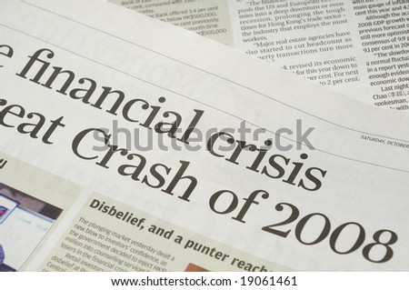 Newspaper headlines - financial crisis on 2008