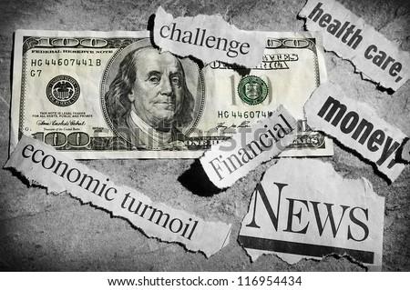 newspaper headlines showing bad news, and money