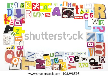 newspaper letters artwork frame concept background