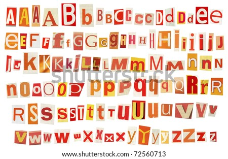 Newspaper, magazine alphabet. Selected red, yellow, orange and white colors.