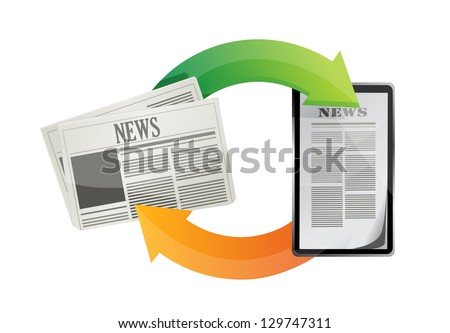 newspaper news media concepts illustration design over a white background