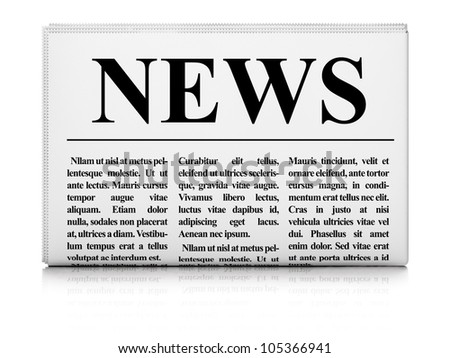 Newspaper on white background, 3d render