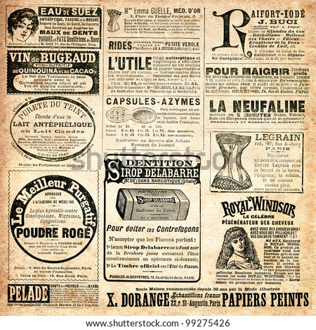 Newspaper page with advertisement - Vintage engraved illustration -