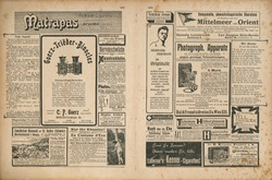 Newspaper page with retro advertisement. Vintage engraved illustration. German magazine from 1904